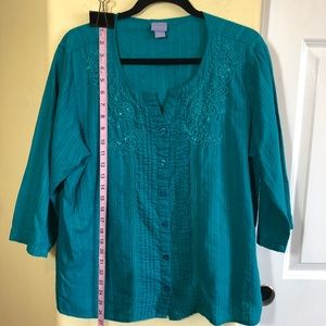 Laura Scott XL Cotton Turquoise Tunic  Button Down